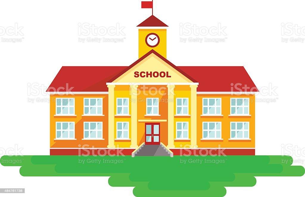 School building in flat style vector art illustration