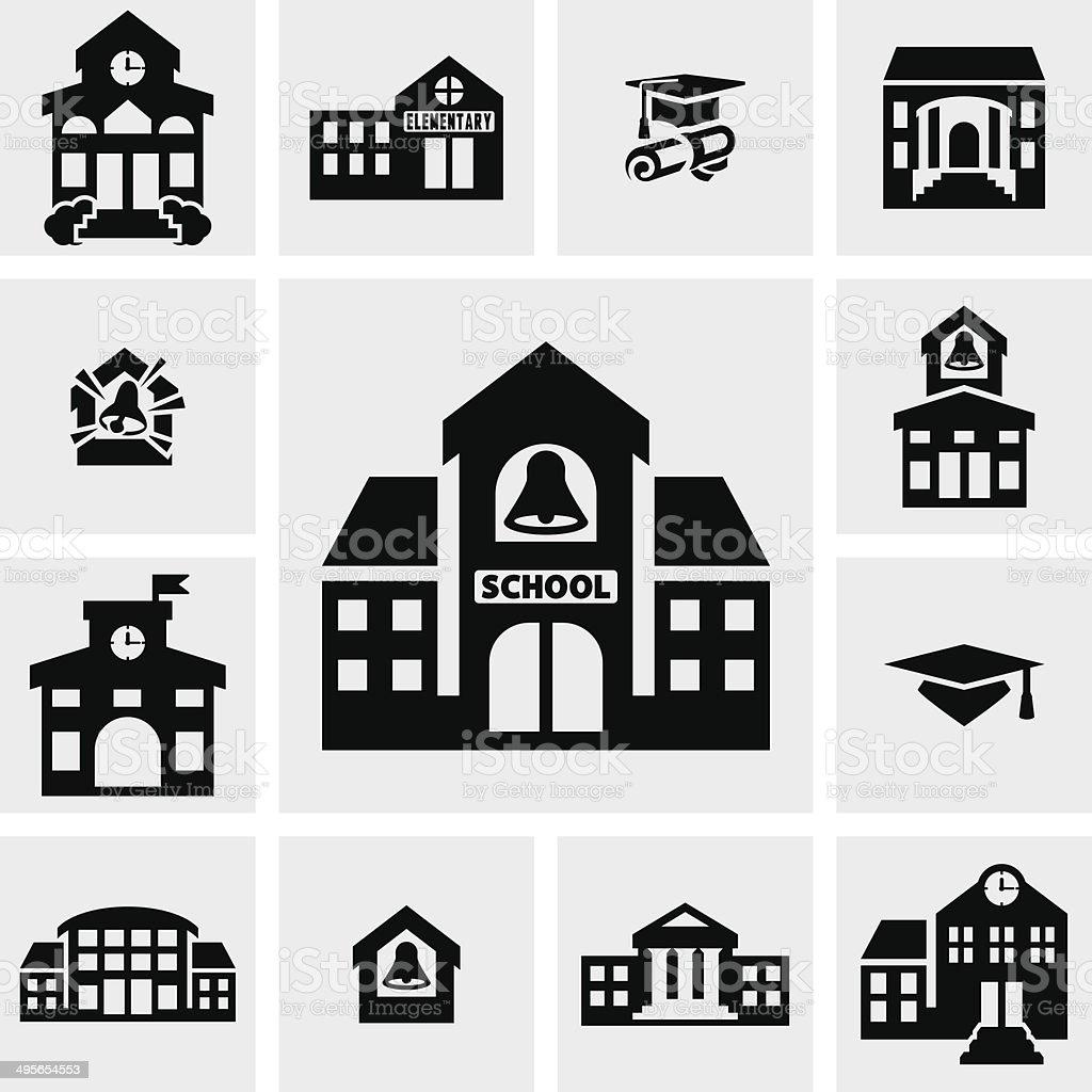 School building vector icons set on gray vector art illustration