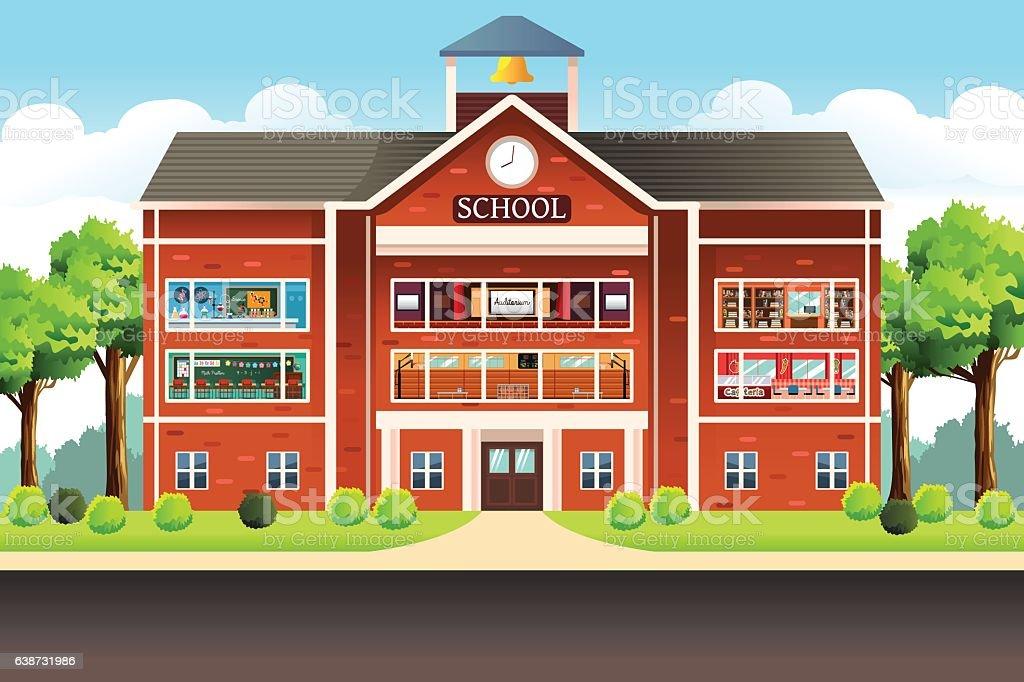 School Building vector art illustration