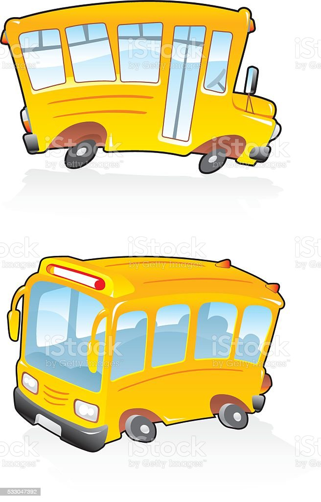 School Bus Cartoon vector art illustration