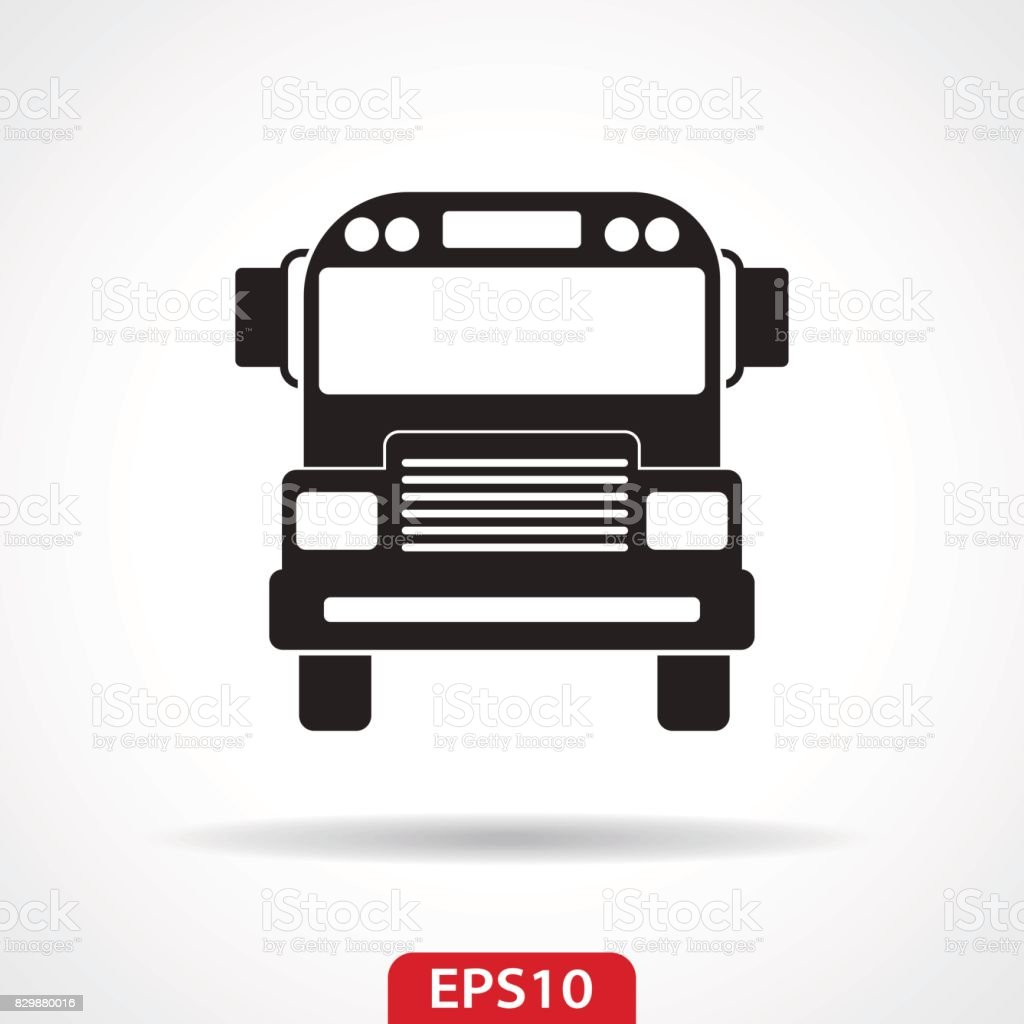 School Bus Flat Icon Isolated vector art illustration
