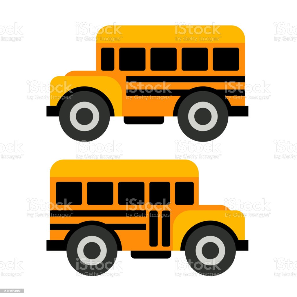 School Bus Icons in Flat Vector Style royalty-free stock vector art