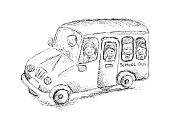 School bus in sketchy style