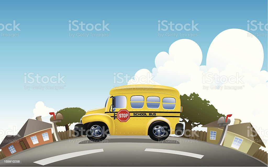 School Bus in to Residential area royalty-free stock vector art