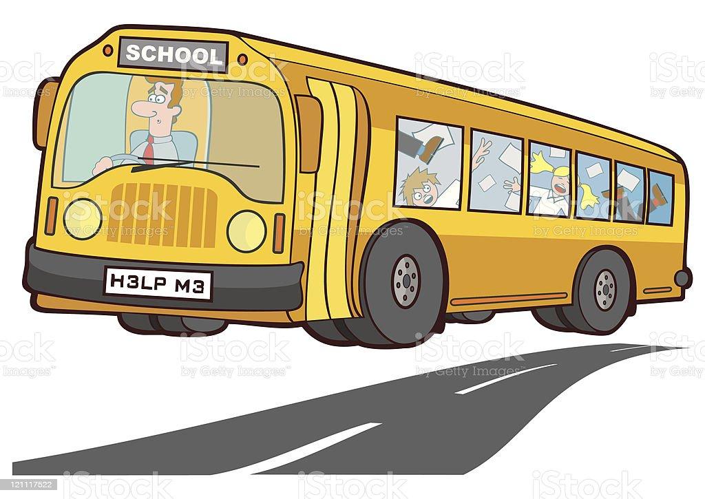 School Bus Terror vector art illustration