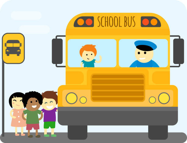 School Bus Stop Clip Art, Vector Images & Illustrations ...