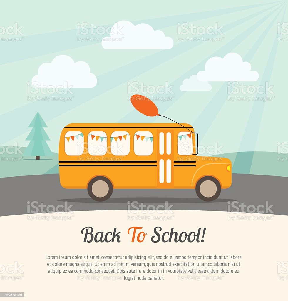 School bus with festive flags vector art illustration
