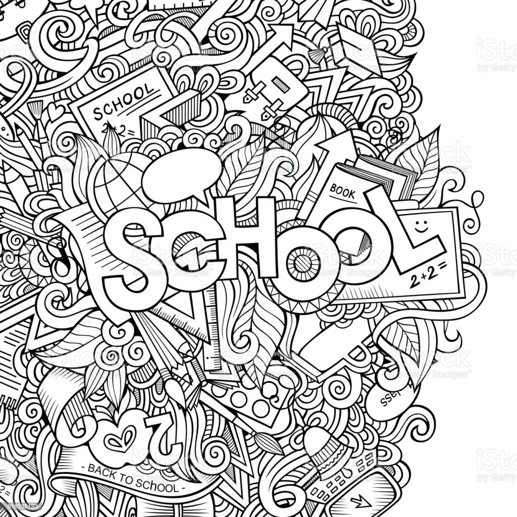 School cartoon hand lettering and doodles elements background vector art illustration