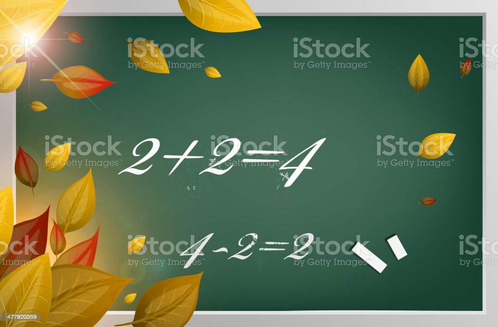 School Chalkboard With Fall Leaves royalty-free stock vector art