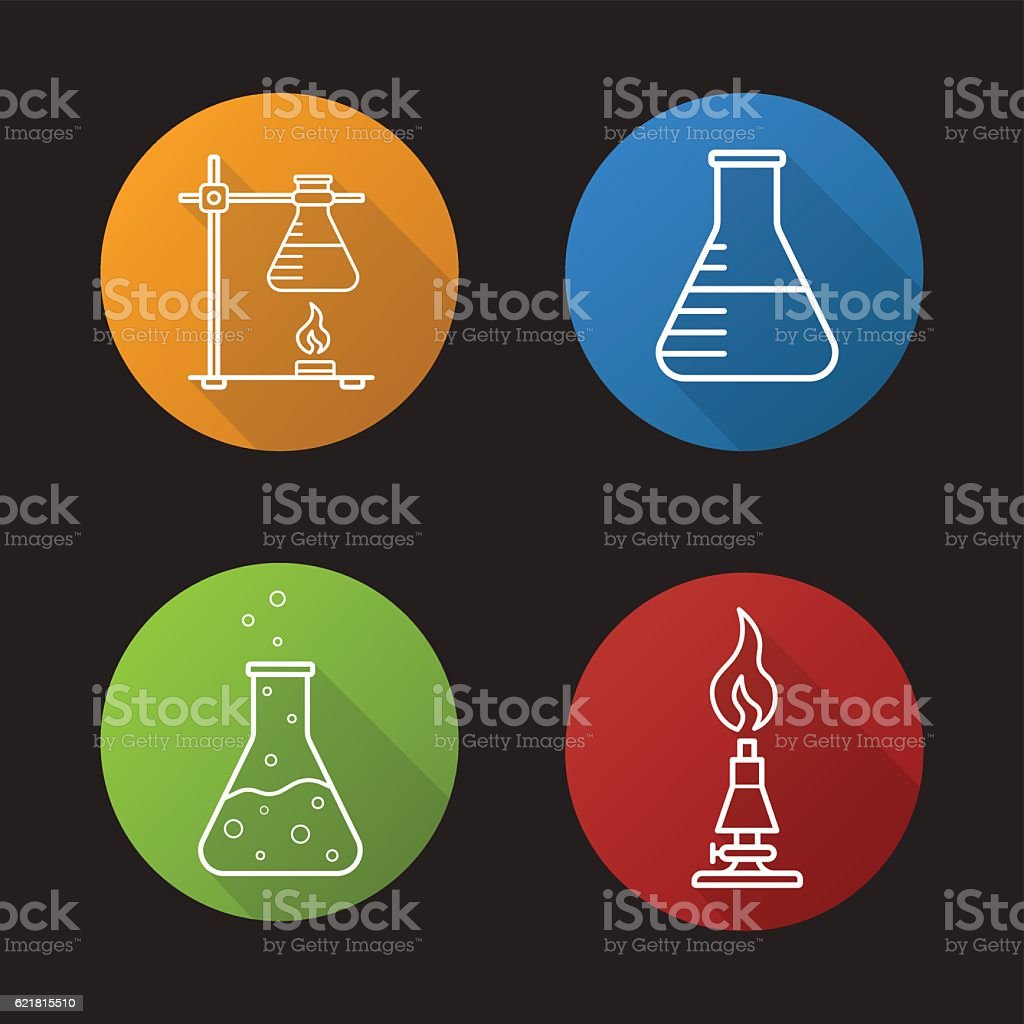 School chemical laboratory icons vector art illustration