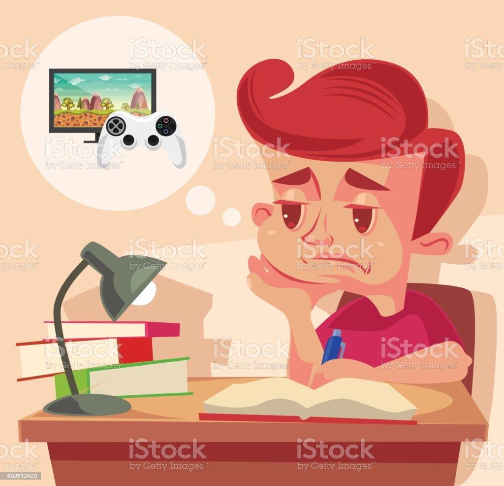 School child character do not want to do homework vector art illustration