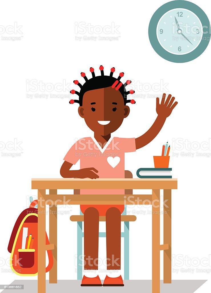 School children pupil in flat style vector art illustration