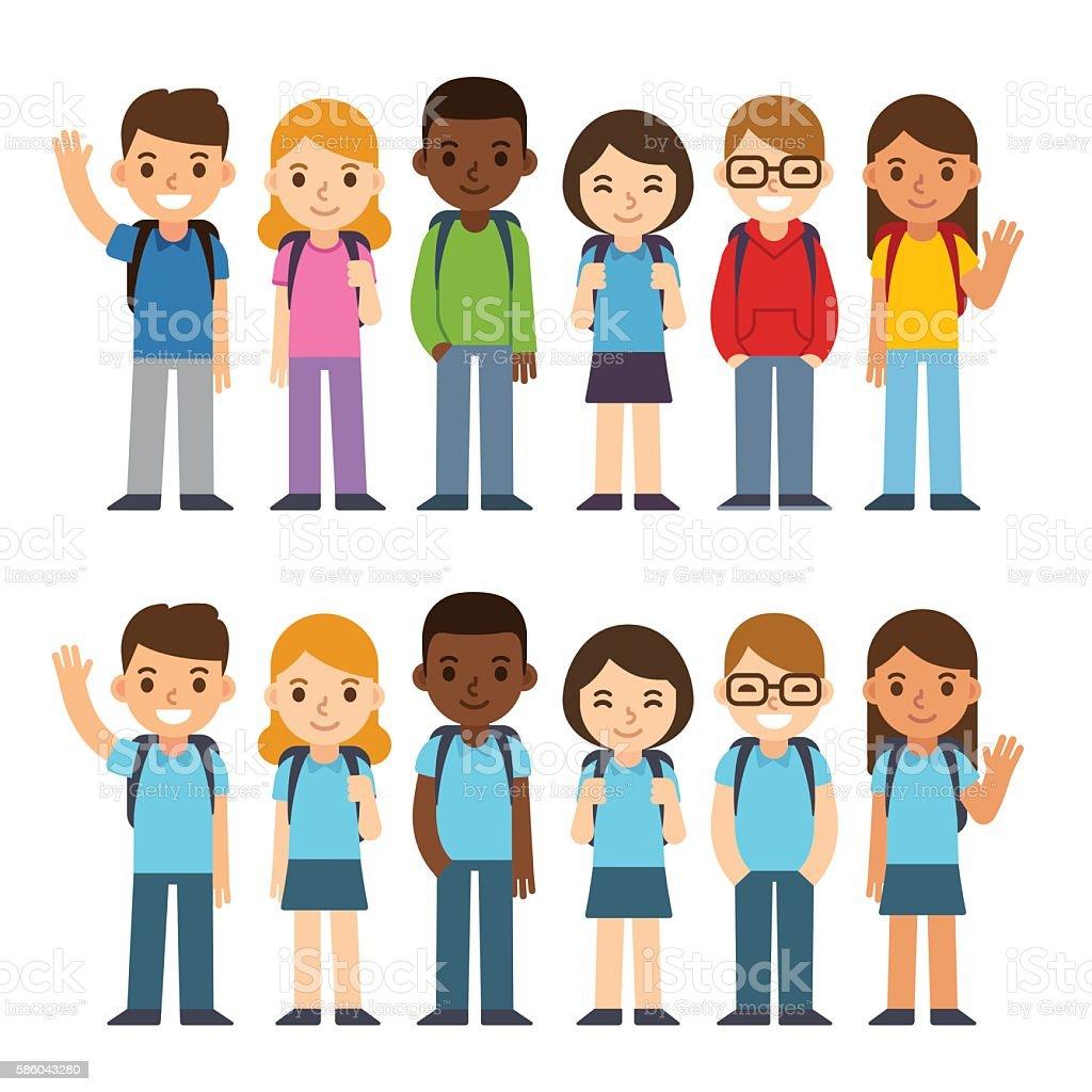 School children set vector art illustration