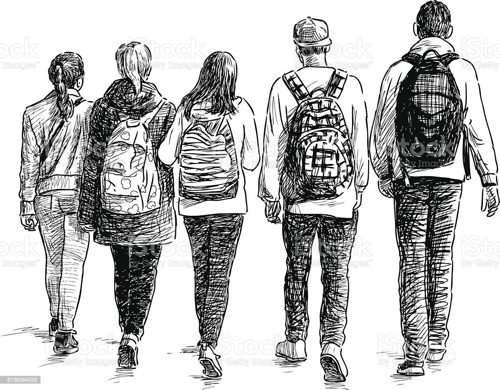 school children vector art illustration