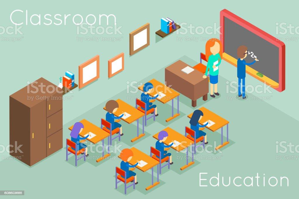 School classroom education isometric concept vector vector art illustration