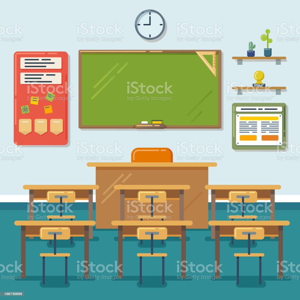 School classroom with chalkboard and desks. Vector flat illustration vector art illustration