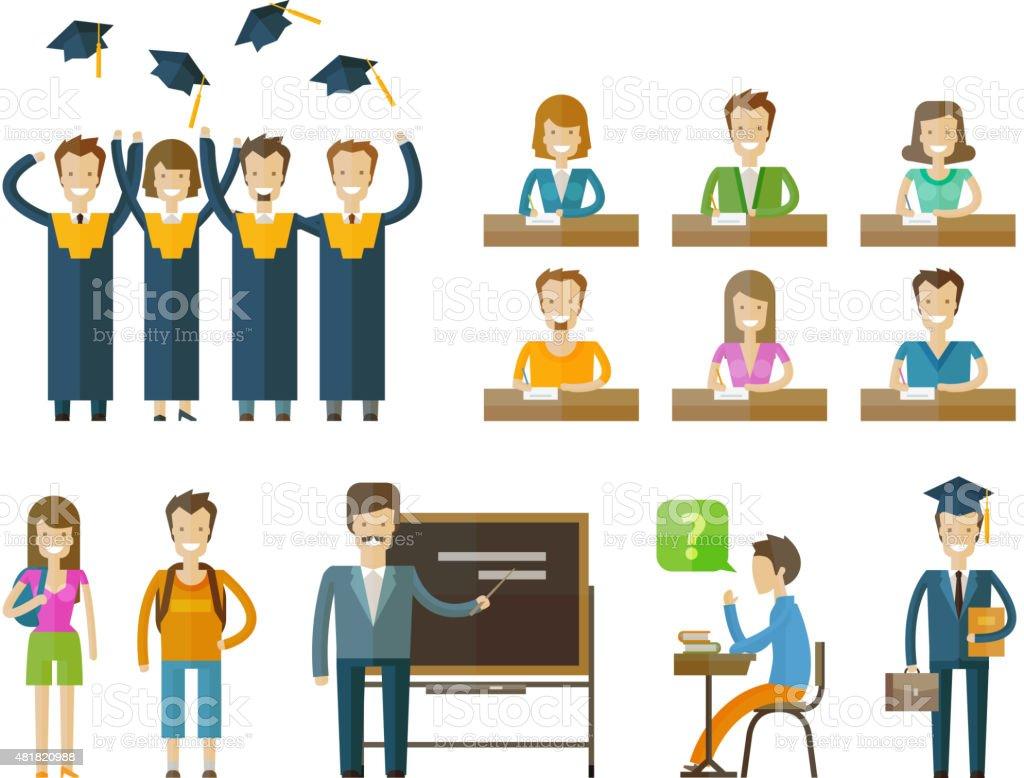 school, college icons set. graduate, university, student or education, schooling vector art illustration