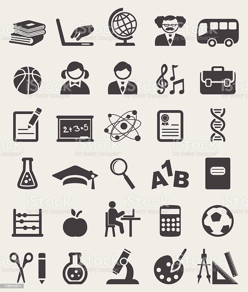 School complete icons set. Vector royalty-free stock vector art