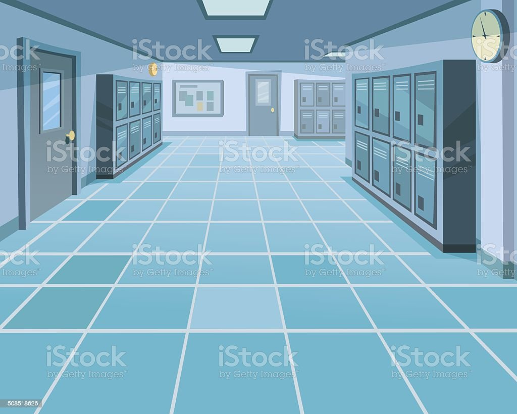 School Corridor vector art illustration