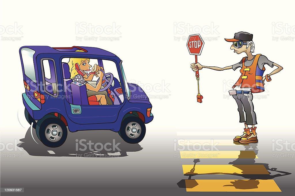 School Crossing Guard II royalty-free stock vector art