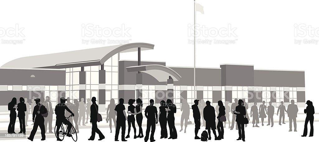 School Crowd Vector Silhouette vector art illustration
