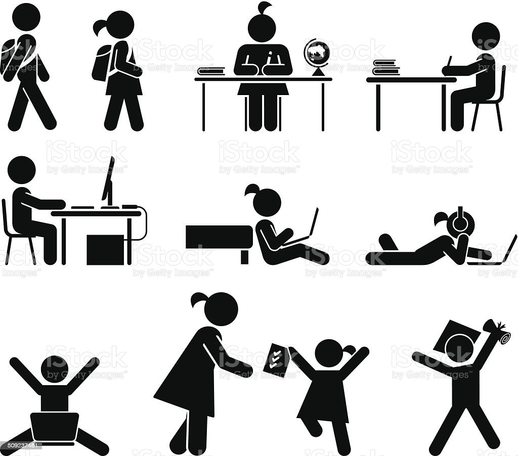 School days. Pictogram icon set. School children. vector art illustration