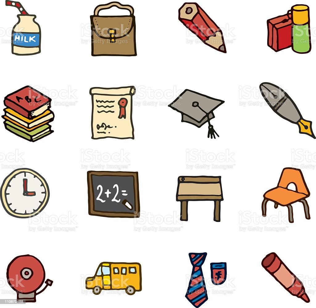 School doodle icons vector art illustration