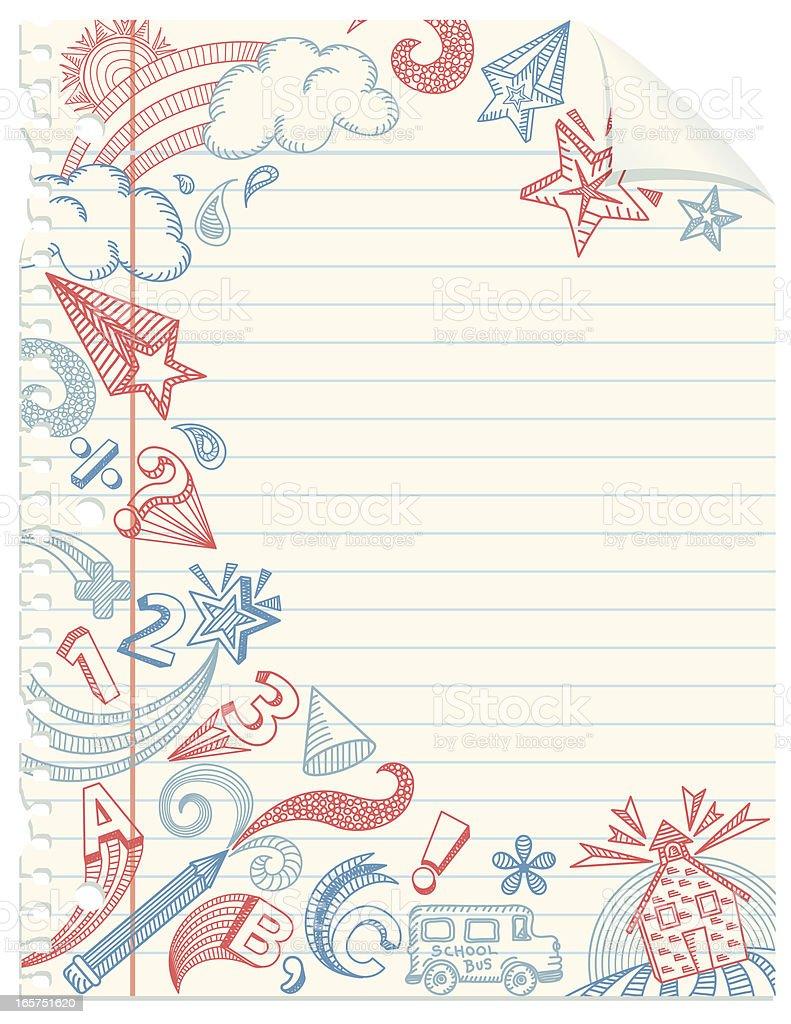 School Doodles Notebook Paper vector art illustration