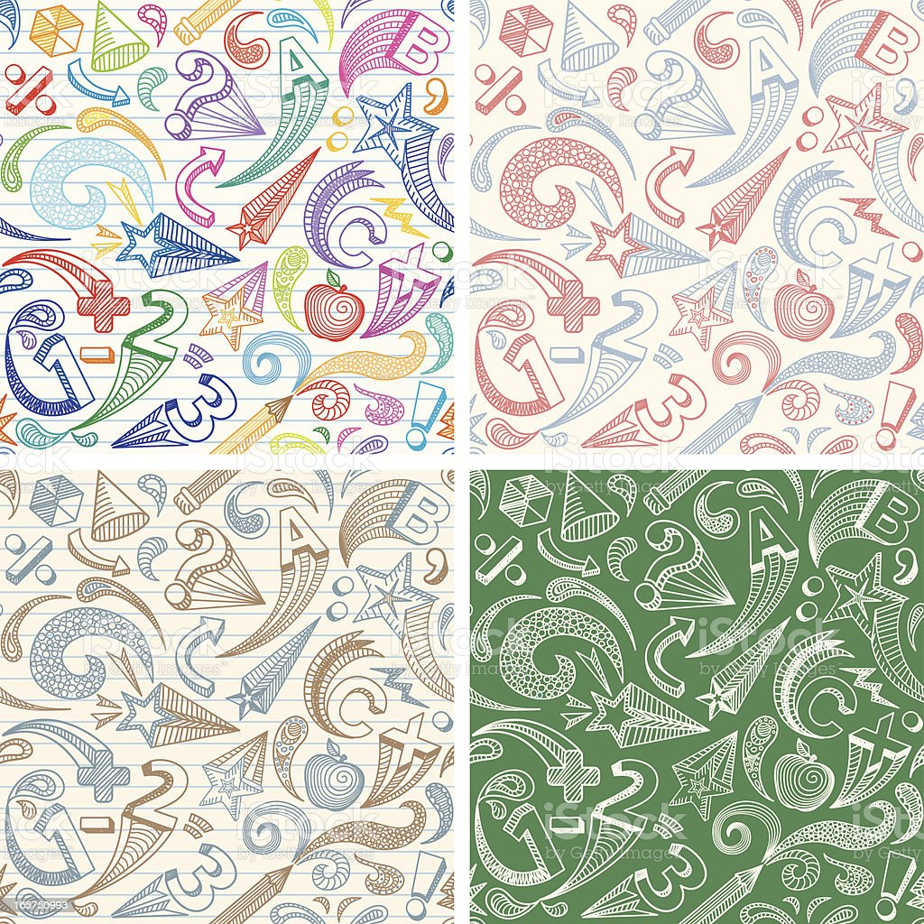 School Doodles Seamless Patterns royalty-free stock vector art