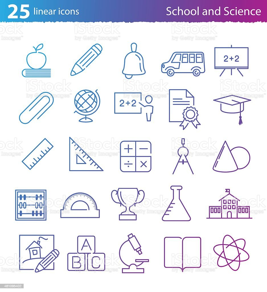 School, education and science icons set vector art illustration