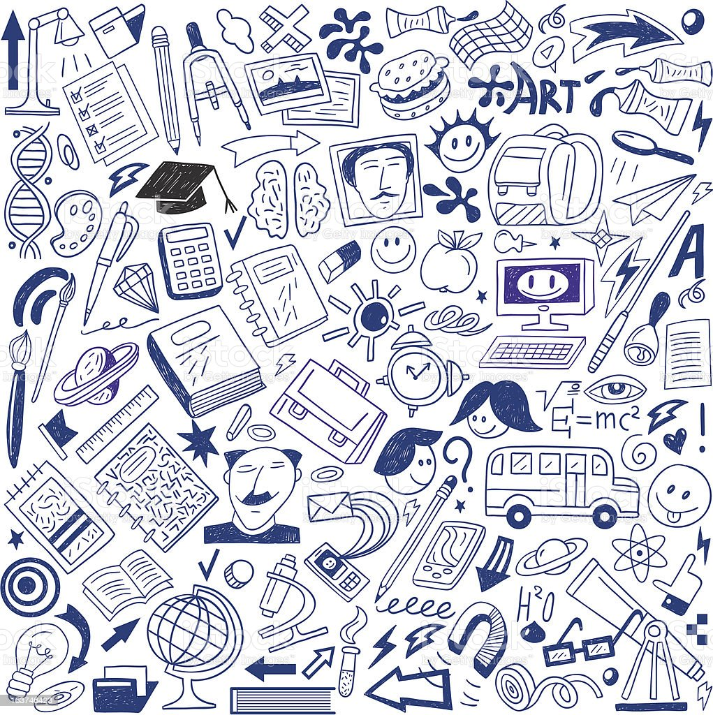 School education - doodles collection royalty-free stock vector art