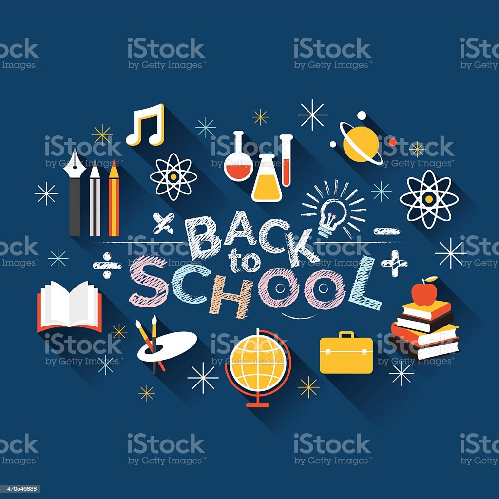 School, Education, Flat Icons and Text Heading vector art illustration