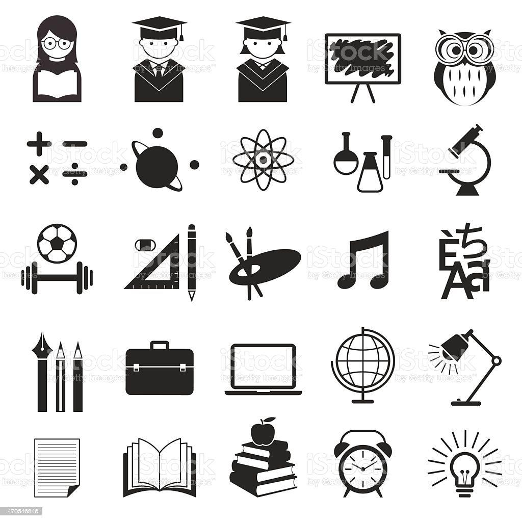 School, Education Icons Set vector art illustration