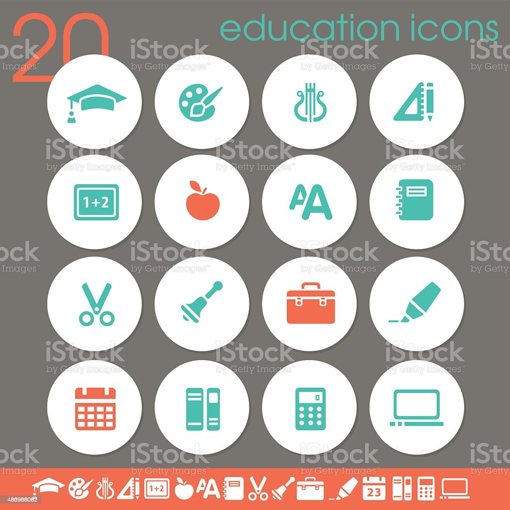 School & Education icons | white circles collection vector art illustration