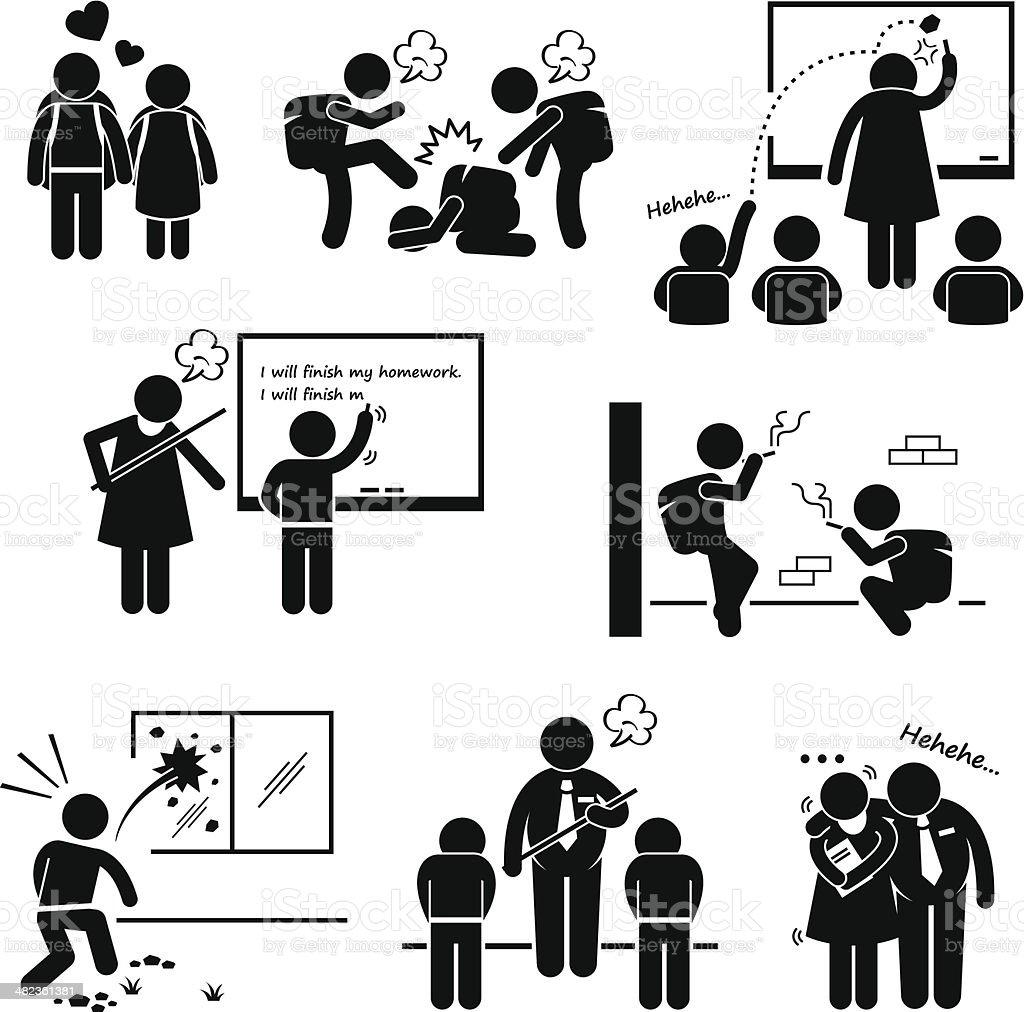 School Education Social Problem Stick Figure Pictogram Icon Clipart vector art illustration