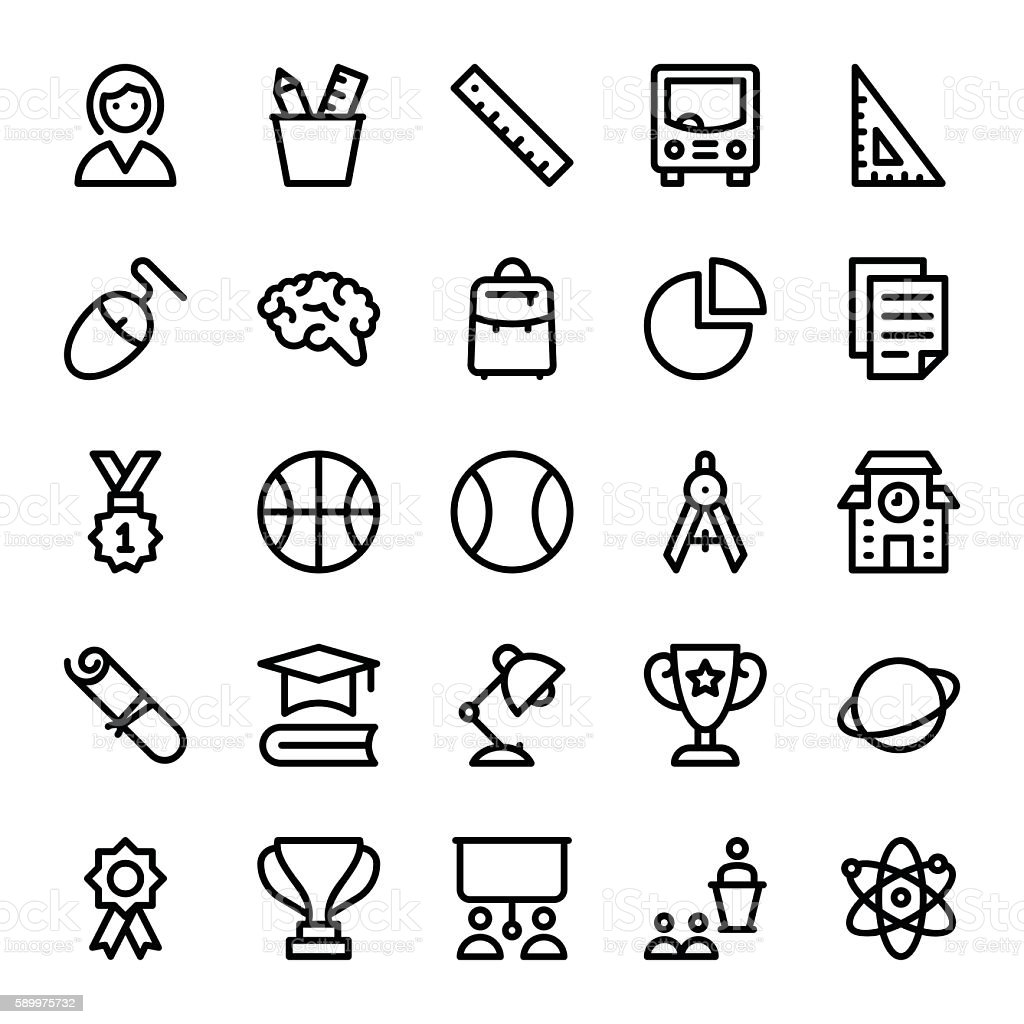 School, Education, Stationery, Office Vector Icons 2 vector art illustration