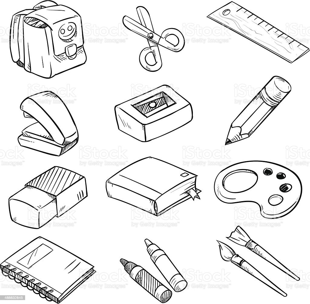 School equipment sketch style royalty-free stock vector art