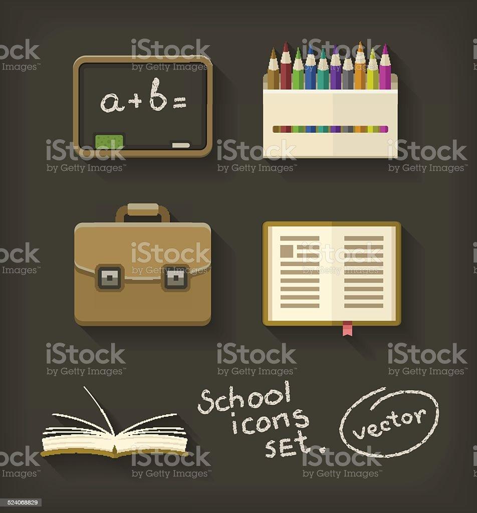 Książki szkoły płaskie ikony ołówka Aktówka i Tablica stockowa ilustracja wektorowa royalty-free