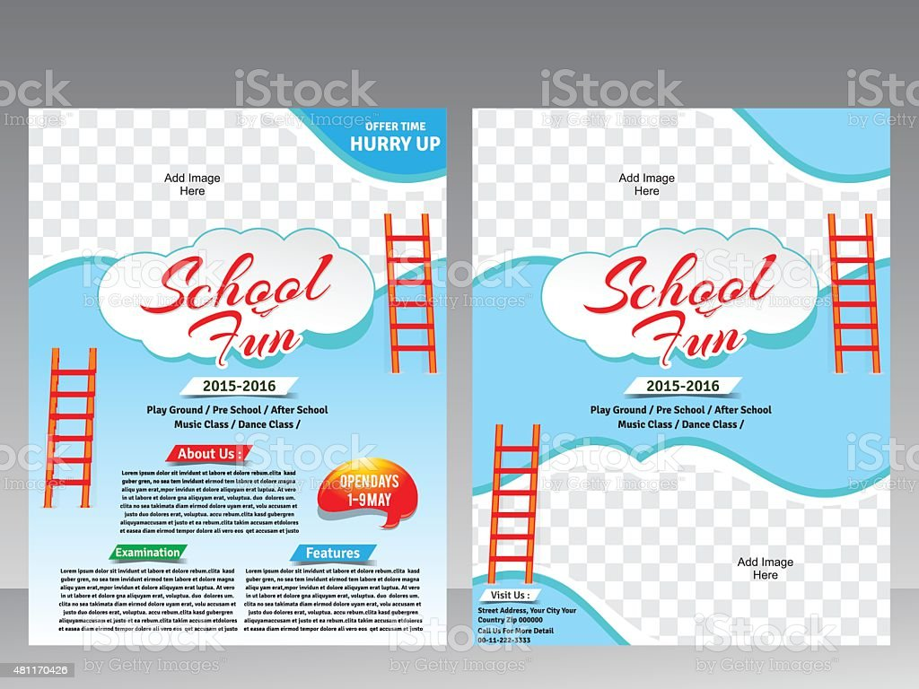 school fun flyer magazine design template stock vector art 1 credit