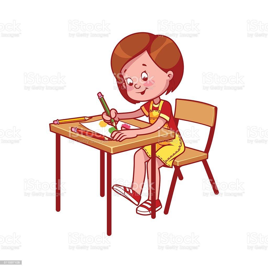 fille de l cole un bureau d cole dessin avec des crayons de couleur de couleur stock vecteur. Black Bedroom Furniture Sets. Home Design Ideas