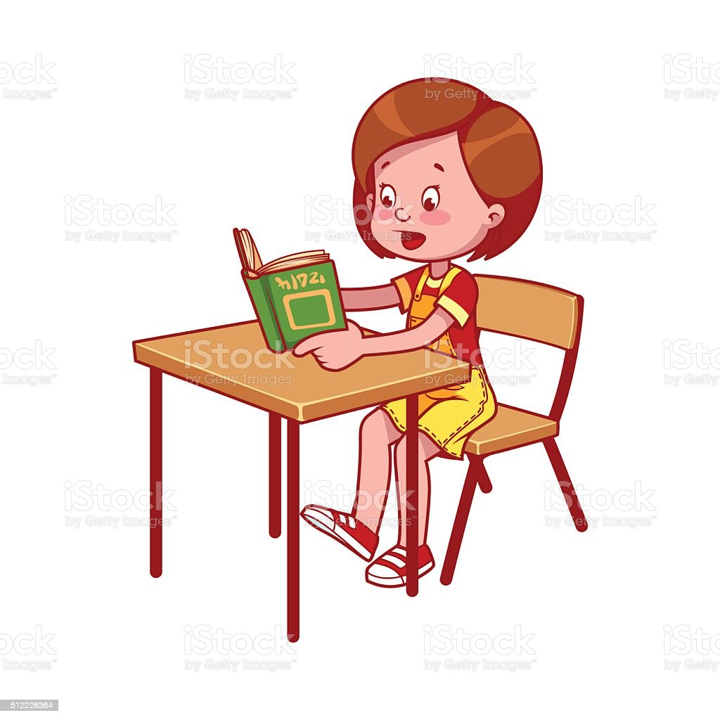 Child Reading At Desk Clipart 37666 | LOADTVE