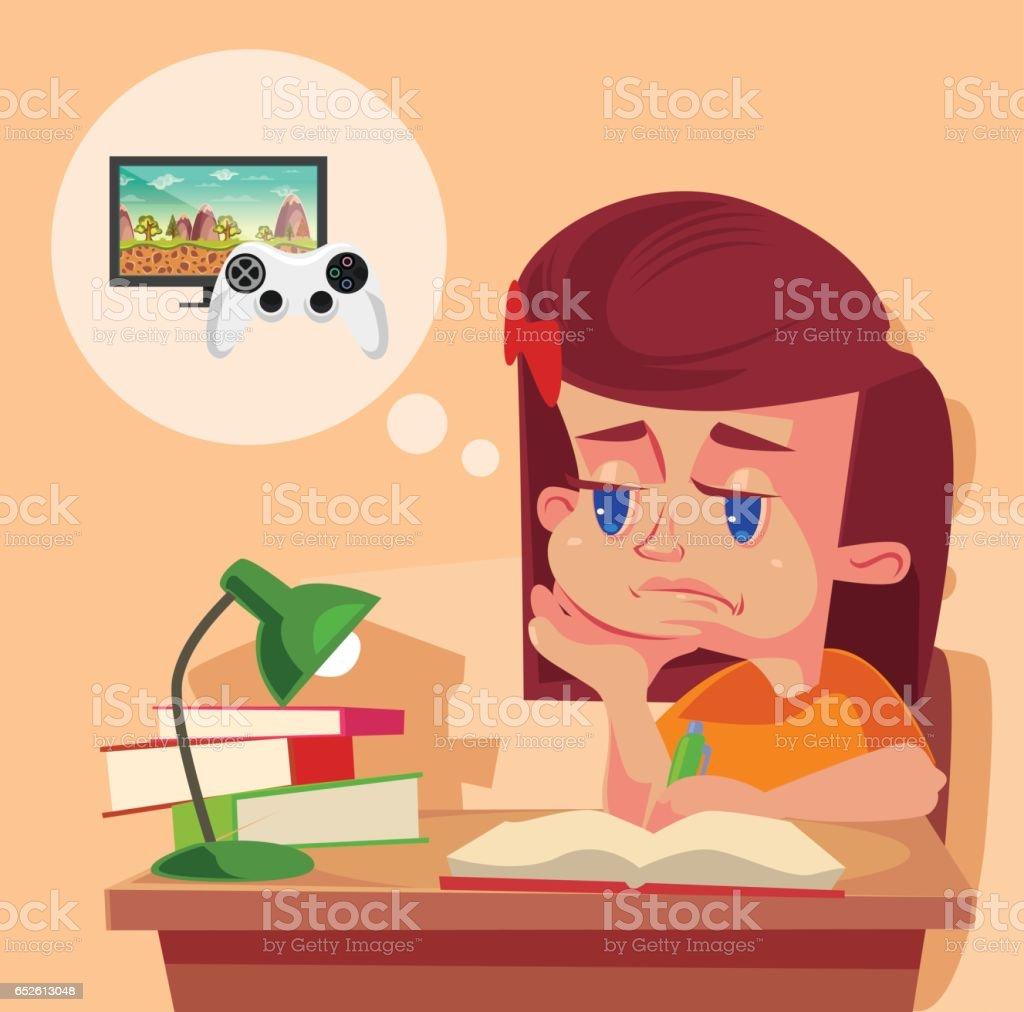 School girl child character do not want to do homework vector art illustration