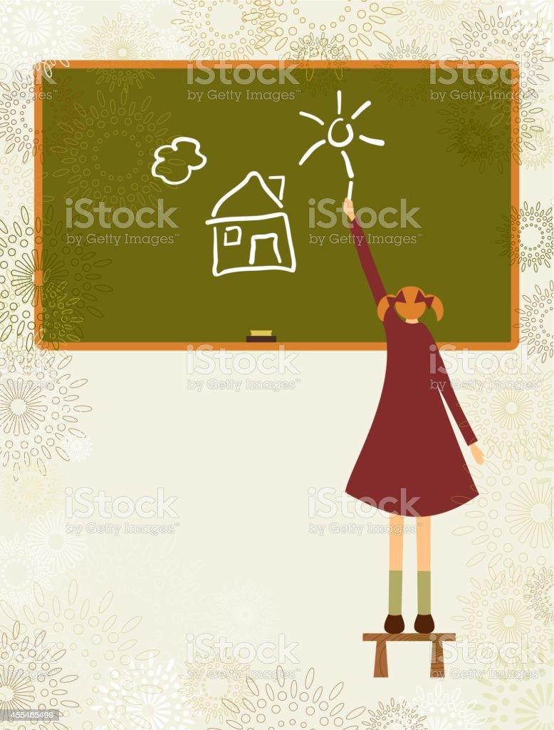 School girl drawing on a blackboard royalty-free stock vector art