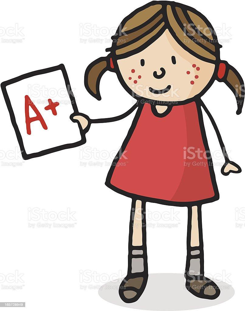 School girl holding A grade mark royalty-free stock vector art