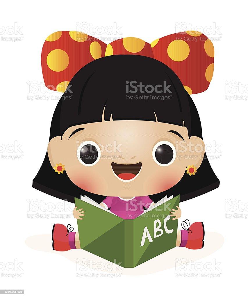 School girl reading royalty-free stock vector art