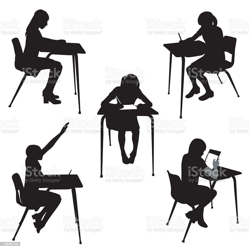 School Girl vector art illustration