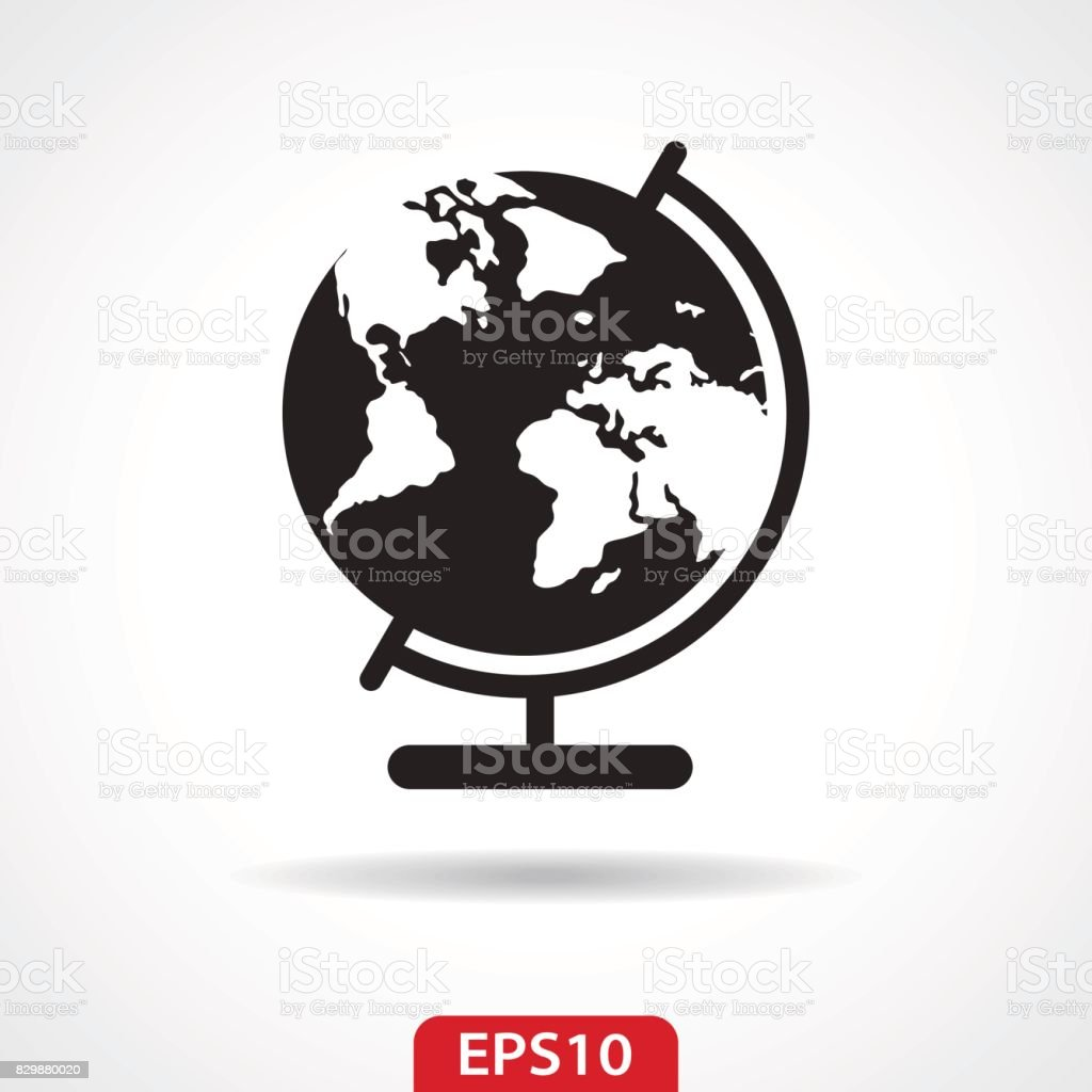 School Globe Flat Icon - Vector Illustration vector art illustration