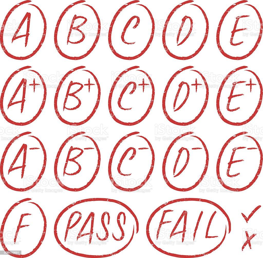 School grades - Rubber stamps vector art illustration
