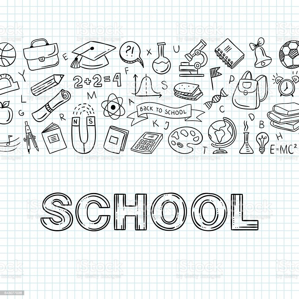 School hand drawn icons. Education vector objects. Back to school vector art illustration