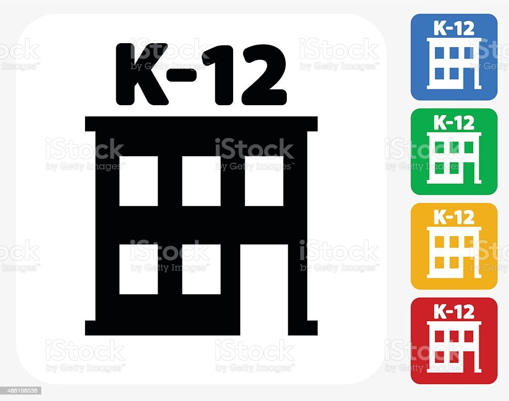 K-12 School Icon Flat Graphic Design vector art illustration